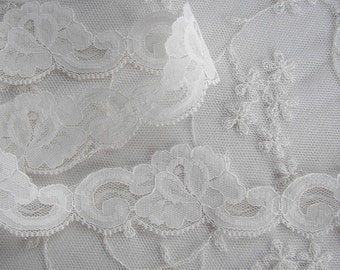 3yd Chic Ivory Rose Flower lace Ribbon Trim Scrapbook Doll Quilt Bridal Veil