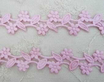 3 yds Pink Flower Trim on a Vine Scrapbooking Card Making Bridal