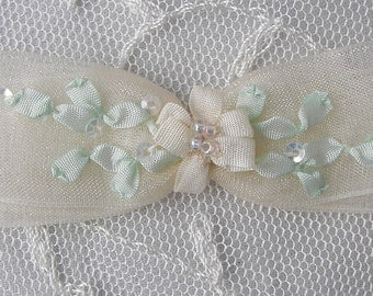 2pc Beaded Organza Fabric Flower Bow Applique w Sequins Cream Bridal Christening Ribbon Embroidered w Rose Bud Baby Doll Corsage