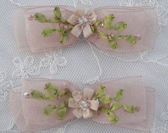 2pc Beaded Organza Fabric Flower Bow Applique w Sequins Tan Bridal Christening Ribbon Embroidered w Rose Bud Baby Doll Corsage