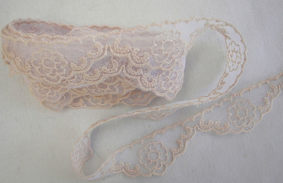 3yd Chic beige emroidered tulle lace Ribbon Trim Scrapbook Doll Quilt