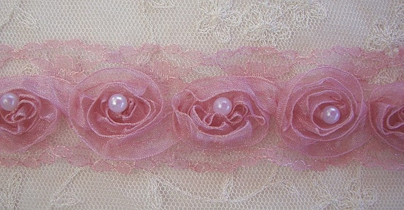 Organza Beaded Ribbon Trim w Pearl Hand Dyed Antique Rose Pink for Scrapbook Doll Quilt Christening