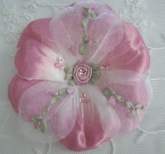 Beaded Fabric Ribbon Flower Applique w Sequins Embroidered w Rose Buds Satin Organza Rose Pink Corsage Pin Brooch Hair Accessory Baby Bow