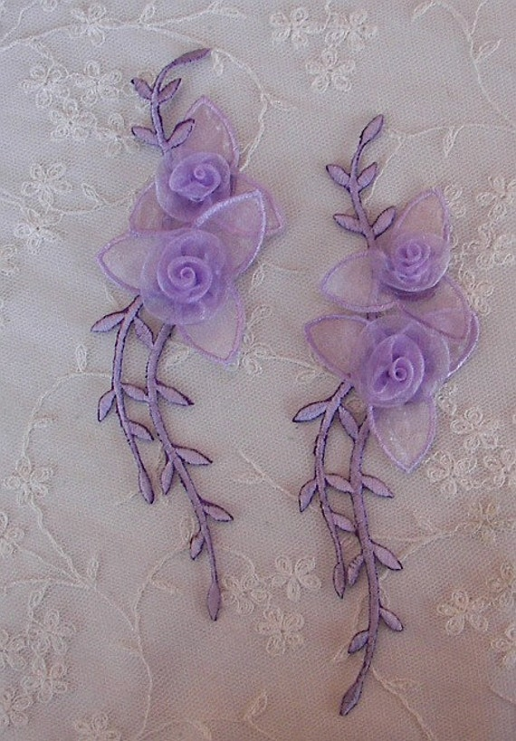 2 Lavender Organza Ribbon Rose Fabric Flower Appliques Embroidered Iron On Baby Bridal Sewing Headband Embellishment