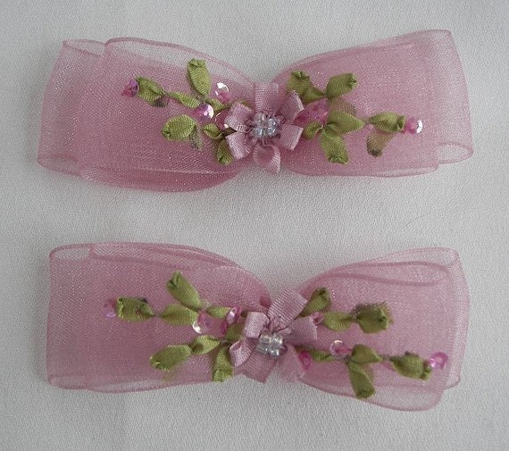 2pc Beaded Rose Mauve Pink Organza Fabric Flower Bow Applique w Sequins Ribbon Embroidered w Rose Bud Baby Doll Corsage