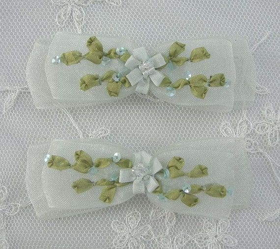 2pc Beaded Green Organza Fabric Flower Bow Applique w Sequins Ribbon Embroidered w Rose Bud Baby Doll Corsage