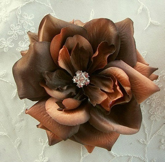 5 inch Brown Bridal Millinery Rose with Silk Organza Leaf for Hat Corsage Pin Hair Accessory