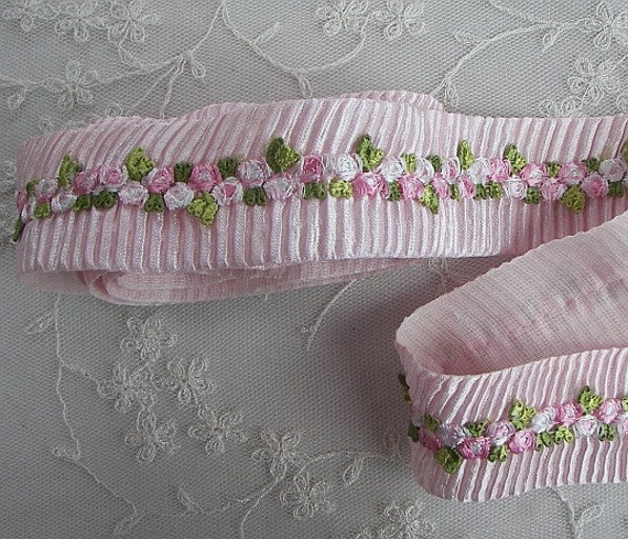 ORIGINAL DESIGN Baby Pink White embroidered rose bud pleated satin ribbon scrapbook trim