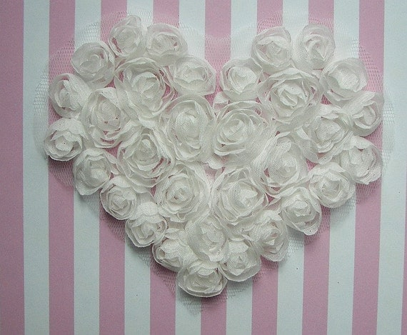 White Floral Heart Applique Handmade Ribbon Rose Bud Flower Valentine yoke