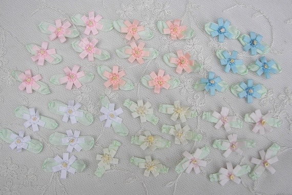 36pc Blue Pink White Cream Peach Handmade Baby Doll French Knot Ribbon Bow Flower Applique