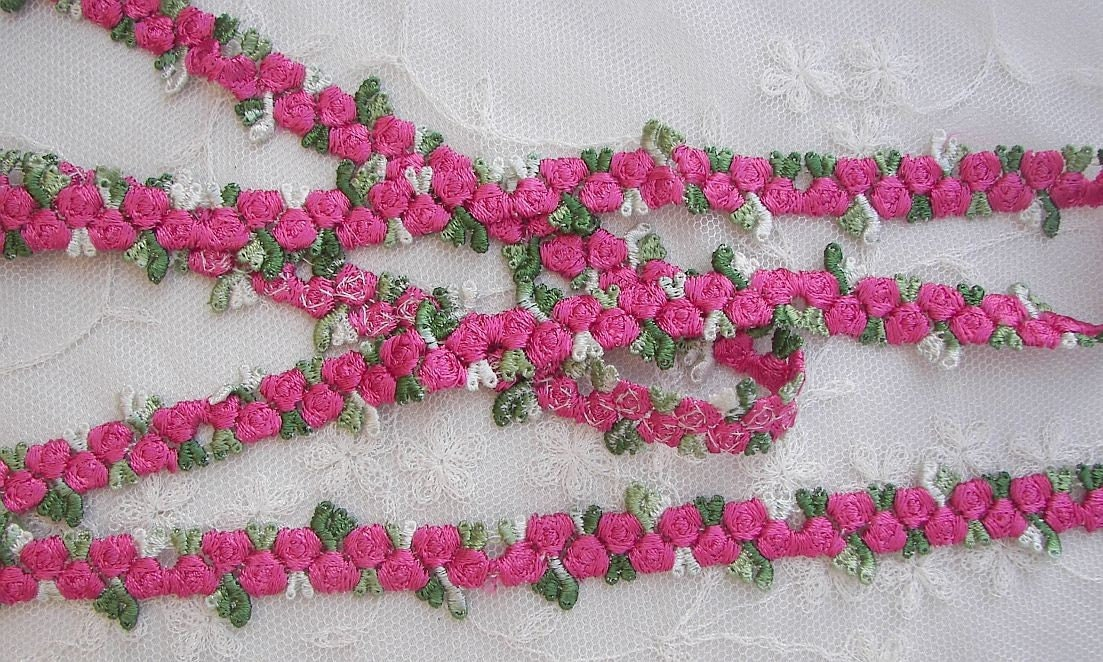 Chic embroidered rose bud flower fuchsia ribbon trim scrapbook