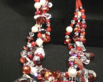 OOAK Statement Swarovski Red Crystal and Pearl Necklace