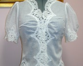 SALE Bridal Jacket - Vintage Dotted Swiss and Alencon Lace - Size Med-Large