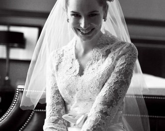 Lace Bridal Jacket -Long Sleeve Custom Alencon Lace Jacket