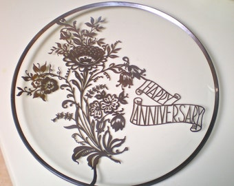 HAPPY ANNIVERSARY 925ss HEIRLOOM Keepsake Plate Gift vintage 12 in