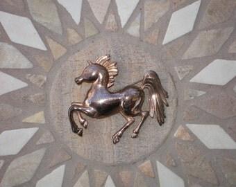 Vintage BRASS HORSE Pin BROOCH