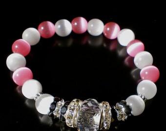 PINK White CATSEYE Crystal Stretch Bracelet