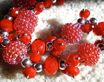 My RED HOT RASPBERRY Beaded Necklace