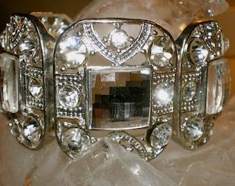 VINTAGE CRYSTAL Ice BLING Cocktail Stretch Bracelet