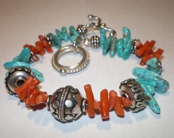 TURQUOISE CORAL BALI Tribal Southwest Bracelet
