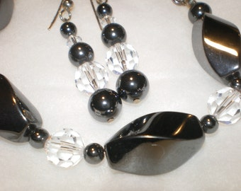 Hematite and Swarovski Bracelet with Earrings  237 238