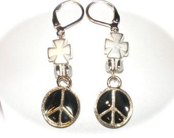 CROSS PEACE SIGN Biker Chick earrings