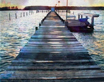 Nature Photography - Water Photograph - Nautical Photo - Old Wooden Pier - Fishing Boat - Teal - Blue - Gold - Maryland Photograph