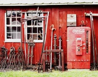Old Metal & Coke Machine Barn Photography - Country Photograph - Coke Machine Fine Art Photo - Red Barn - Rusty Metal - Fine Art Photography