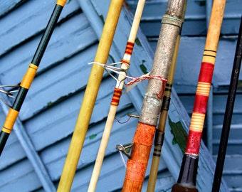 Fishing Rods Fine Art Photography Vintage Retro Home Decor for Him, Dudes, Boys Room, Man Cave