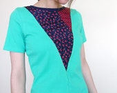 XS reconstructed YOKI tee in green and blue