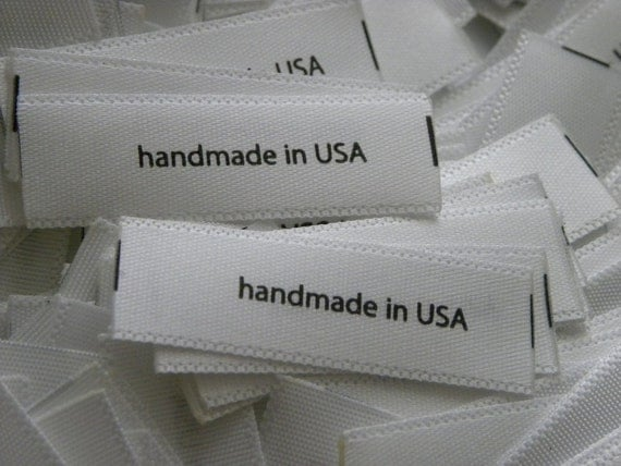 100 Satin Pre-Printed Content Labels - 100 percent cotton, 100 percent Polyester, dry clean only, handmade in USA -- Pick ANY