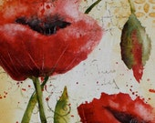 Mixed Media Poppies Original Painting