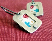 Pasta Primavera - sterling silver and fabric earrings