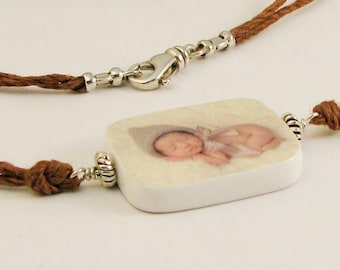Hemp Cord Necklace with Photo Pendant - N2