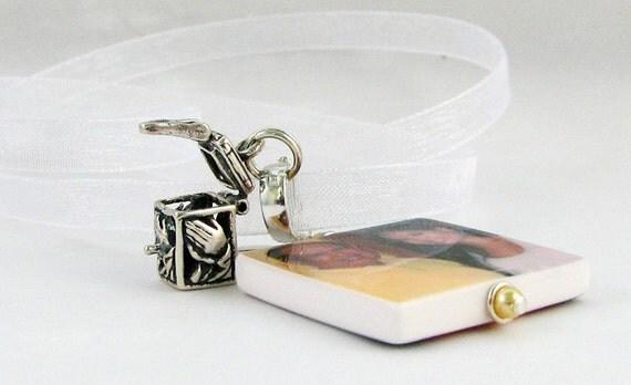 Bridal Bouquet Memorial Photo Charm with Sterling Prayer Box - Medium Photo - BC2a
