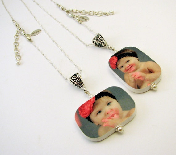 A Jewelry Set for Mom and Nana - 2 Photo Keepsake Pendants - P1RfNx2