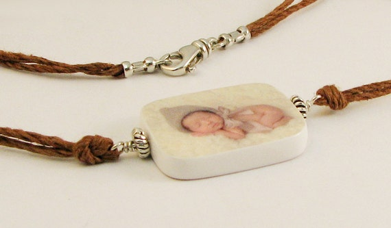 Hemp Cord Necklace with Photo Pendant - P2RN