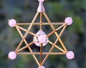 Rose Quartz - Love - Gem Star Merkaba Suncatcher / Pendulum