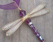 Dragonfly Necklace - Birthstones & 28 More Swarovski Colors - Gold Toned Dazzlefly