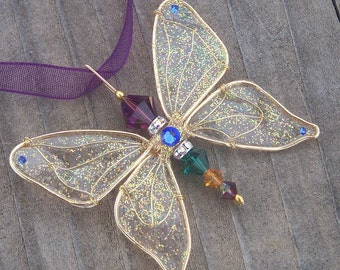 Butterfly Necklace - Birthstones & 28 More Swarovski Colors - Gold Toned