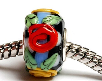 Glass Lampwork Beads - Large Hole Multiple Color Rondelle Bead  - SC10058
