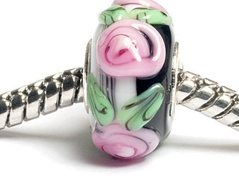 Glass Lampwork Beads  - Large Hole Black w/Pink Flower Stringer Rondelle Bead  - SC10029