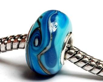 Glass Lampwork Beads  - Large Hole Turquoise/Light Blue Twist Rondelle Bead - SC10047