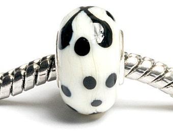 Glass Lampwork Beads  - Large Hole Ivory w/Black Rondelle Bead - SC10054