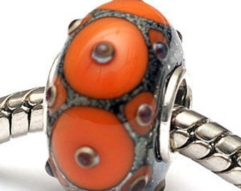 Glass Lampwork Beads  - Large Hole Coral w/Metal Dots Rondelle Bead - SC10100