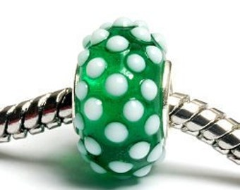 Glass Lampwork Beads  - Large Hole Green w/White Dots Rondelle Bead - SC10011
