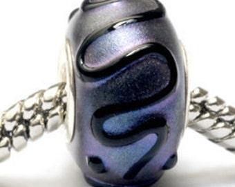 Glass Lampwork Beads  - Large Hole Purple Pearl Surface w/Black Rondelle Bead - SC10033