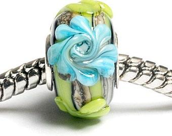 Glass Lampwork Beads  - Large Hole Green w/Blue Flower Rondelle Bead  - SC10038
