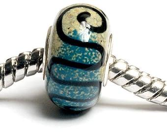 Glass Lampwork Beads - Large Hole Beige & Blue w/Black Swirl Rondelle Bead - SC10068