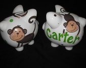 personalized piggy bank mod pop monkey green and brown